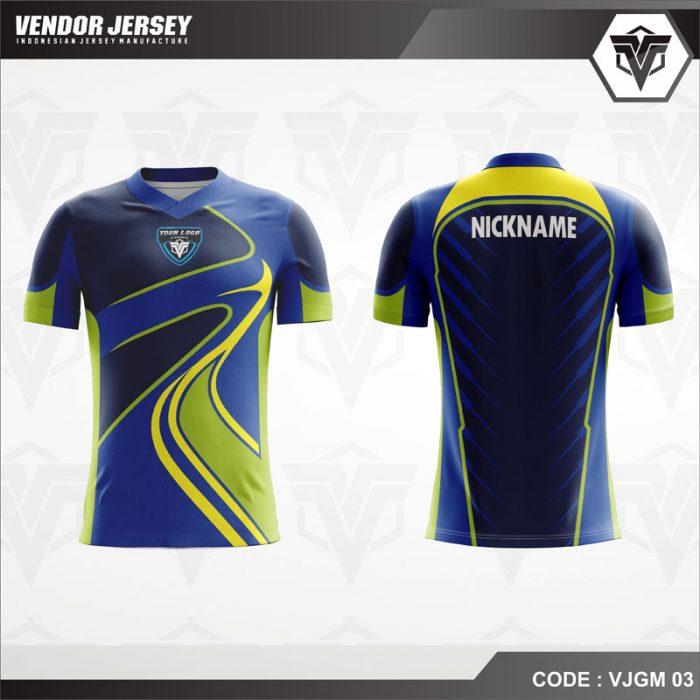 Desain Jersey Gaming dengan warna biru