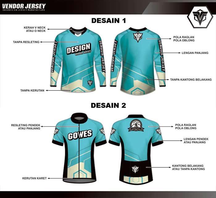 pola baju sepeda dengan model roadbike dan downhill